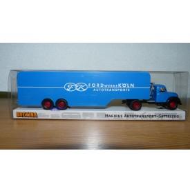 BREKINA 42600 Camion semi remorque porte autos MAGIRUS 4500 aux couleurs de FORD Köln Neuf  BO 1/87 HO